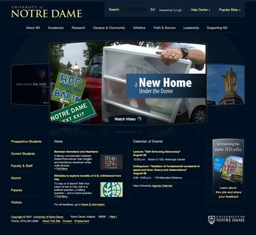 The new Notre Dame Homepage