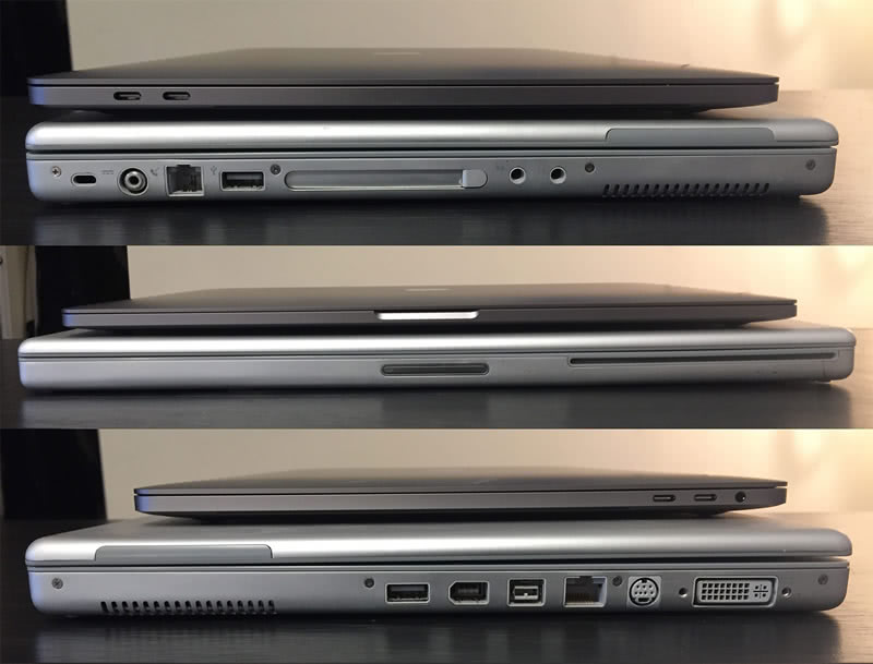 Port comparison of a 2004 PowerBook and a 2016 MacBook Pro